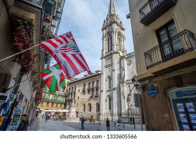 BILBAO, SPAIN - MARCH 04  2019: The seven streets in old town at the cathedral.