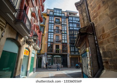 BILBAO, SPAIN - MARCH 04  2019: The seven streets in old town.