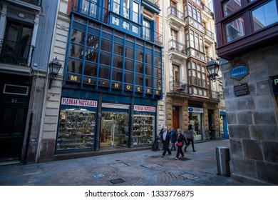 BILBAO, SPAIN -  MARCH 5  2019: Facades in the seven streets of the old town.