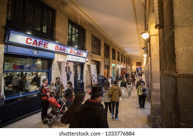 BILBAO, SPAIN -  MARCH 5  2019: Famous Bars at Plaza Barria.