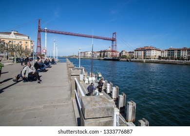 BILBAO, SPAIN -  MARCH 5  2019: The Biscay Bridge also called Puente Colgante belongs to the Unesco World Heritage.