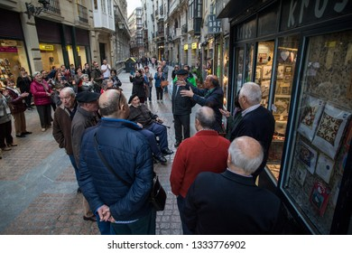 BILBAO, SPAIN -  MARCH 5  2019: A group of Basque gentlemen serenade the old town.