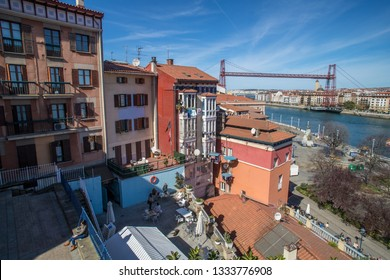 BILBAO, SPAIN -  MARCH 5  2019: The Biscay bridge seen from Portugalete.