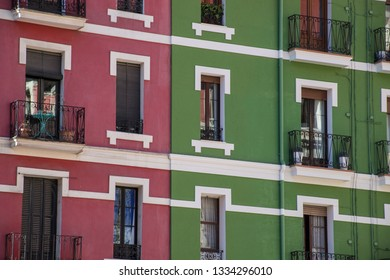 BILBAO, SPAIN - MARCH 7  2019: Colorful facade in the city center.