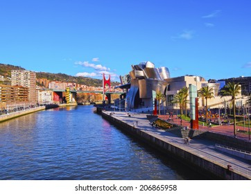 BILBAO, SPAIN - MARCH 9, 2013: Nervion River and The Guggenheim Museum in Bilbao, Biscay, Basque Country, Spain