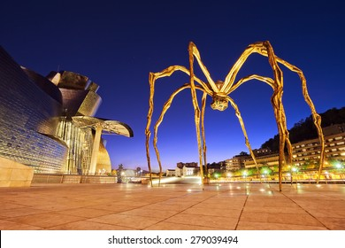BILBAO, SPAIN - MAY 17, 2015: The Spider, sculpture of Louise Bourgeois in the Guggenheim Museum Bilbao