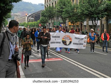 Bilbao, Spain - May 27, 2018: people march in support of panafrican movement in Bilbao, Spain