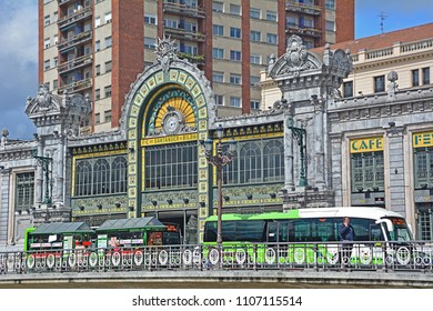 BILBAO, SPAIN - MAY 3, 2018 - The historic Bilbao Concordia railway station in the Belle epoque style with the terminal of Bizkai Bus lines, serving the province of Biscay