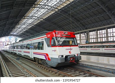 BILBAO, SPAIN - MAY 3, 2018 - Suburban trains of Cercanias Bilbao, a commuter rail network in Bilbao, at Bilbao railway station