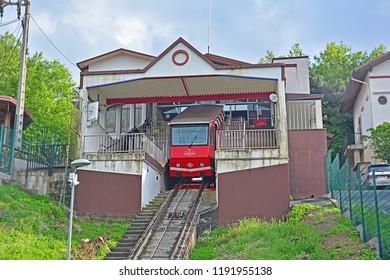 BILBAO, SPAIN - MAY 3, 2018 - Artxanda Funicular railway at the summit station