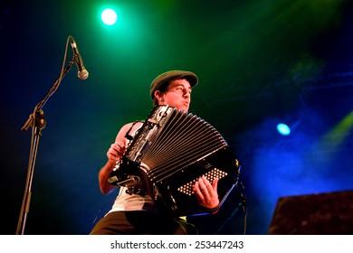 BILBAO, SPAIN - NOV 01: Accordion player of La Moda (band) live music show at Bime Festival on November 01, 2014 in Bilbao, Spain.