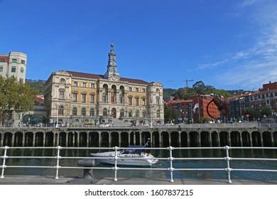 Bilbao, Spain - OCT 13: Bilbao municipality with Nevion River at Bilbao,Spain on OCT 13, 2019
