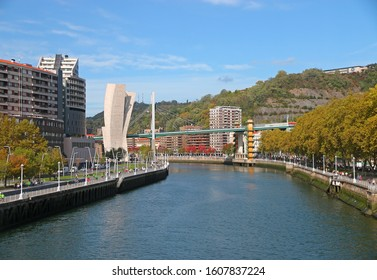 Bilbao, Spain - OCT 13: View of Bilbao city with Nevion River at Bilbao,Spain on OCT 13, 2019