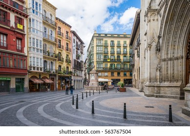 BILBAO, SPAIN - OCTOBER 06. The St. James square, basque Done Jakue plaza, in the old town of Bilbao. it is a medieval neighborhood in the Casco Viejo with the Cathedral in Bilbao on October 06, 2016