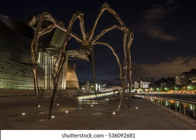 BILBAO, SPAIN - OCTOBER 10, 2013: The Spider, sculpture of Louise Bourgeois in the Guggenheim Museum Bilbao