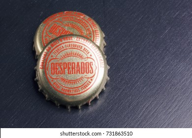 BILBAO, SPAIN - OCTOBER 11, 2017. Bottle caps of Desperados beer.