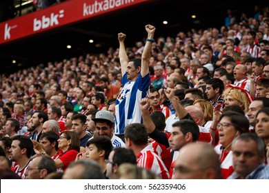 BILBAO, SPAIN - OCTOBER 16: Real Sociedad Fans between Athletic fans in the match between Athletic Bilbao and Real Sociedad, celebrated on October 16, 2016 in Bilbao, Spain