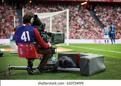 BILBAO, SPAIN - OCTOBER 16: TV camera in the Spanish League match between Athletic Bilbao and Real Sociedad, celebrated on October 16, 2016 in Bilbao, Spain