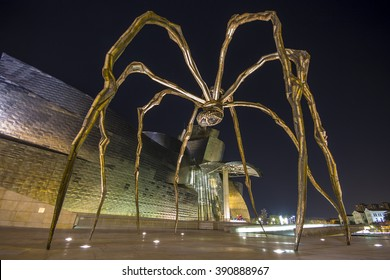 BILBAO, SPAIN - OCTOBER 9, 2015: Maman - a sculpture by Louise Bourgeois depicting a spider that rests in front of the Guggenheim Museum Bilbao
