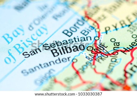 Bilbao On Map Of Spain.Bilbao Spain On Map Stock Photo Edit Now 1033030387 Shutterstock