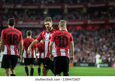BILBAO, SPAIN - SEPTEMBER 15, 2018: Oscar de Marcos, Iñaki Williams, Beñat Etxebarria and Iker Munian, Athletic Club Bilbao players, score a goal during a Spanish match between Athletic and Madrid