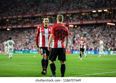 BILBAO, SPAIN - SEPTEMBER 15, 2018: Iker Munian, Athletic Club Bilbao player, celebrates a goal during a Spanish League match between Athletic Club Bilbao and Real Madrid