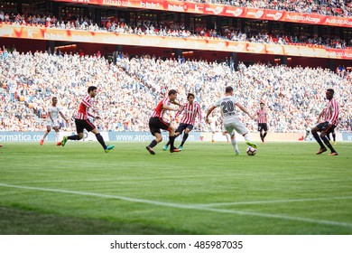 BILBAO, SPAIN - SEPTEMBER 18: Alvaro Medran, Valencia CF player, during a Spanish League match between Athletic Bilbao and Valencia CF, celebrated on September 18, 2016 in Bilbao, Spain