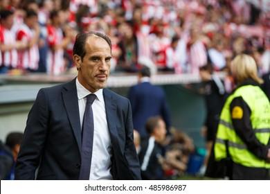 BILBAO, SPAIN - SEPTEMBER 18: Salvador Gonzalez Voro, Valencia CF delegate, before the match between Athletic Bilbao and Valencia CF, celebrated on September 18, 2016 in Bilbao, Spain