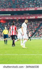 BILBAO, SPAIN - SEPTEMBER 23: Karim Benzema in the match between Athletic Bilbao and Real Madrid, celebrated on September 23, 2015 in Bilbao, Spain