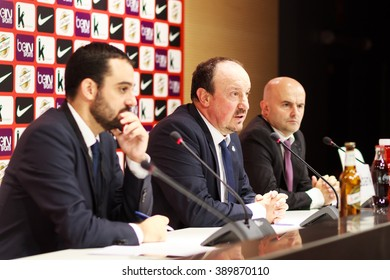 BILBAO, SPAIN - SEPTEMBER 23: Rafael Benitez in the press conference after the match between Athletic Bilbao and Real Madrid, celebrated on September 23, 2015 in Bilbao, Spain