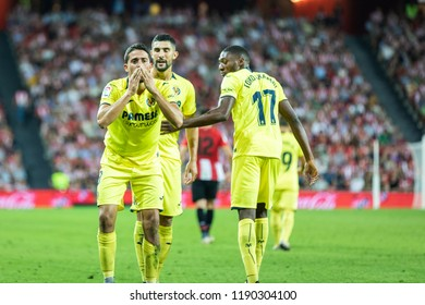 BILBAO, SPAIN - SEPTEMBER 26, 2018: Pablo Fornals, Villarreal player celebrated the goal during a Spanish League match between Athletic Club Bilbao and Villarreal CF