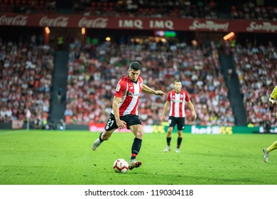BILBAO, SPAIN - SEPTEMBER 26, 2018: Ander Capa, Athletic Club Bilbao player in action during a Spanish League match between Athletic Club Bilbao and Villarreal CF