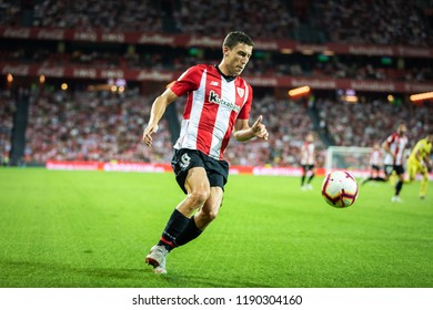 BILBAO, SPAIN - SEPTEMBER 26, 2018: Oscar de Marcos, Athletic Club Bilbao player in action during a Spanish League match between Athletic Club Bilbao and Villarreal CF