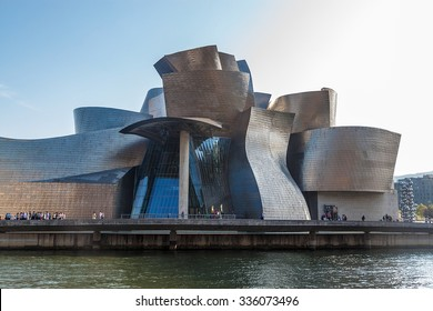 BILBAO, SPAIN - SEPTEMBER 27: Guggenheim Museum on September 27, 2014 in Bilbao, Spain. This picturesque and futuristic museum was designed by Frank Gehry.