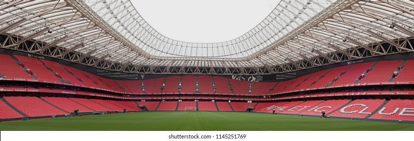 BILBAO, SPAIN-JULY 25, 2018: Panoramic view of San Mames, football stadium, home of Athletic de Bilbao, Basque Country, Spain.