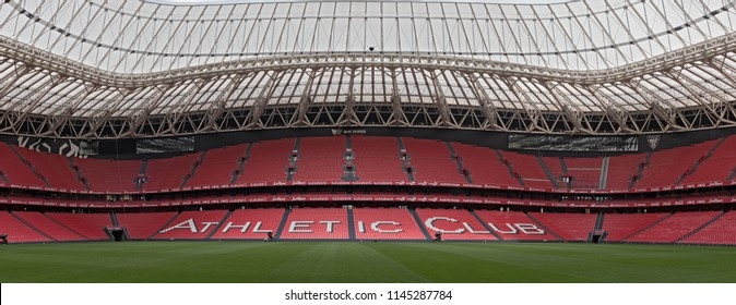 BILBAO, SPAIN-JULY 25, 2018: Panoramic view of San Mames, football stadium, home of Athletic club Bilbao, Basque Country, Spain.