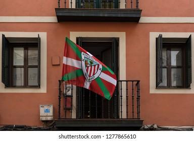 BILBAO, SPAIN-JULY 26, 2018: Flag of Football Club Athletic Bilbao on a balcony