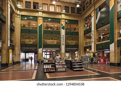 BILBAO, SPAIN-JULY 26, 2018: hall of the abando indalecio prieto train station in bilbao, spain