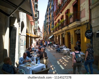 Bilbao, Spain-May 20, 2018: Old town of Bilbao with people havin