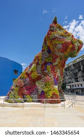 Bilbao,Basque County,Spain on 18th June 2019:American artist Jeff Koons, famous for his large scale cartoony sculptures, was commissioned to create a westhighland terrier Puppy topiary sculpture