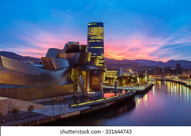BILBAO/SPAIN - OCTOBER 23, 2015: Abandoibarra area on October 23, 2015 in Bilbao, Spain. Abandoibarra, is a former industrial area by the river reconverted in a services and culture area in Bilbao.