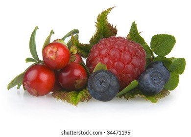 Bilberries,cranberries and raspberry on white background.