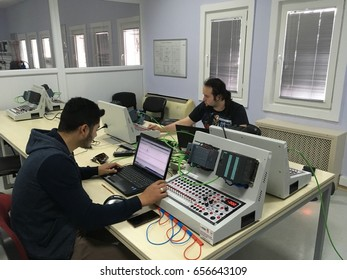 Bilecik, TURKEY - March 10 2017: Students taking PLC course