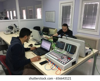 Bilecik, TURKEY - March 10 2017: Students are taking PLC course for Industry 4.0 preparation.