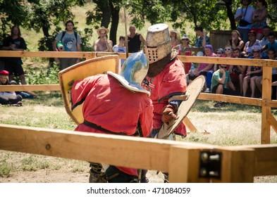 BILHOROD-DNISTROVSKYI, UKRAINE - JUL 16: Knight's fighting at the festival in the Akkerman Fortress, 16 Jule 2016, Ukraine