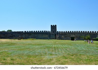 BILHOROD-DNISTROVSKYI, UKRAINE - JULY 2, 2017: Akkerman fortress is a historical and architectural monument of XIII-XIV centuries. Ancient fortress on a bright sunny day