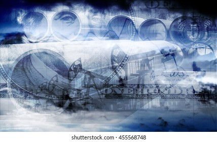 In the bill of 100 dollars on a blue sky background and extraction of the oil industry (double exposure)