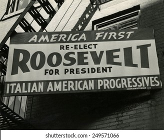 Bill board for Franklin Roosevelt's 1940 campaign. New York City.