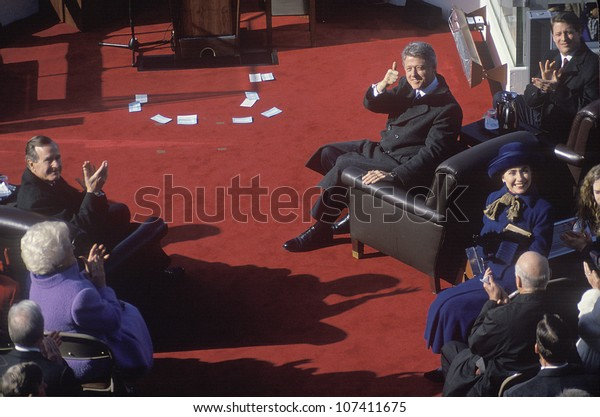 Bill Clinton, 42nd President, gives the thumbs up on Inauguration Day 1993, Washington, DC