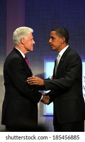 Bill Clinton, Barack Obama at a public appearance for 2009 Annual Meeting of the Clinton Global Initiative-Opening Plenary, Sheraton New York Hotel and Towers, New York September 22, 2009